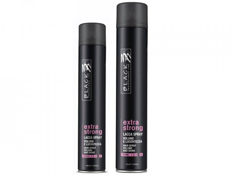 Black professional Extra Strong Hair Spray - extra silne tužiaci lak na vlasy