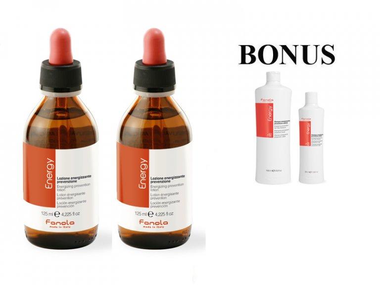 607965eab AKCIA: 2x Fanola ENERGY - tonikum proti vypadávaniu vlasov, 125 ml + Energy  šampón, 1000 ml + Energy šampón, 350 ml